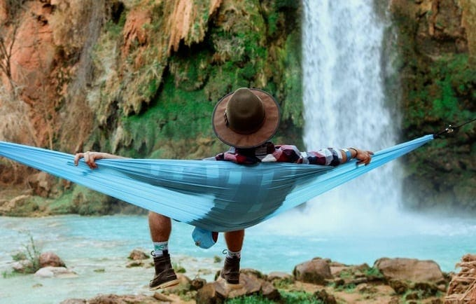 Relaxing Next To Waterfall