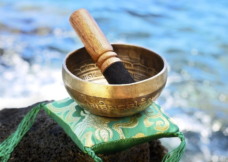 Tibetan bowl by water